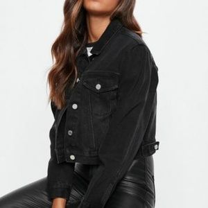 NWT Missguided 6 blk cropped boxy denim jacket